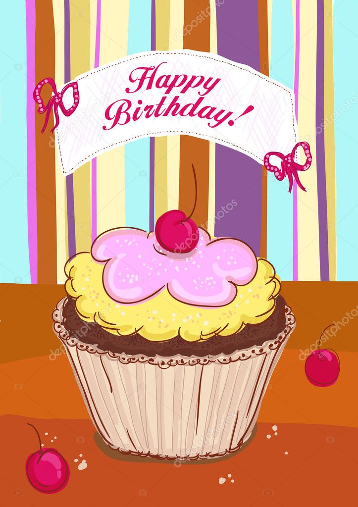 Happy Birthday card with cake u2014 Stock Vector © slena #14206647 - birthday cake card template