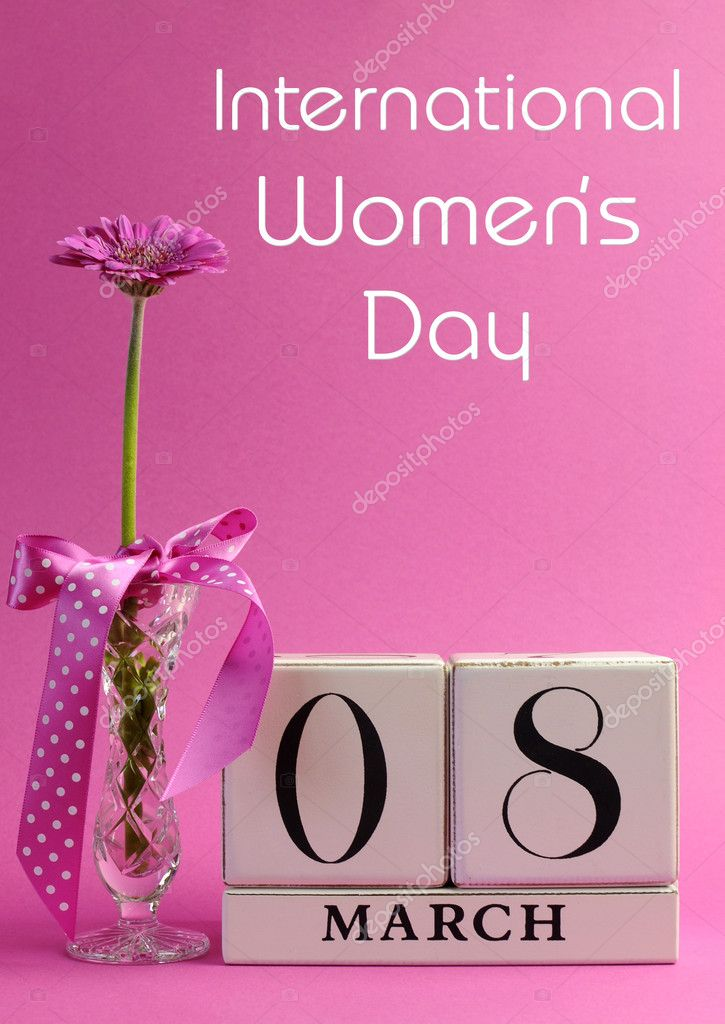 Pink theme calendar date for International Women\u0027s Day, with title