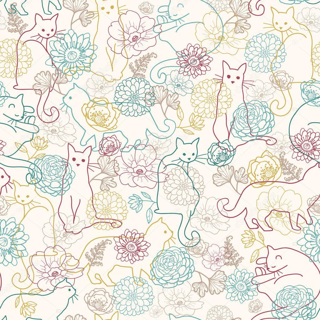 Cute Llama Wallpaper Desktop Cats Among Flowers Seamless Pattern Background Stock