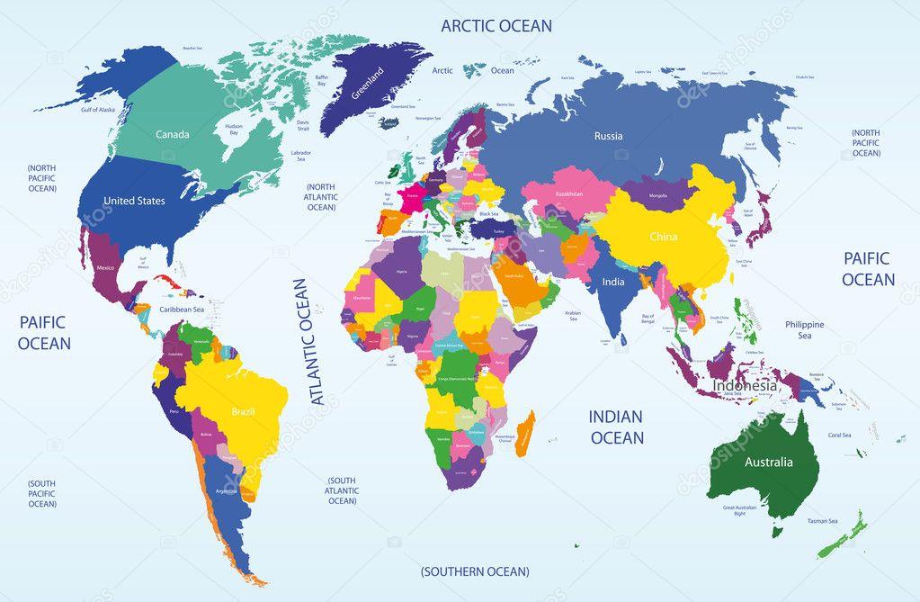 mappa geografica e politica del mondo \u2014 Vettoriali Stock © Jktu_21