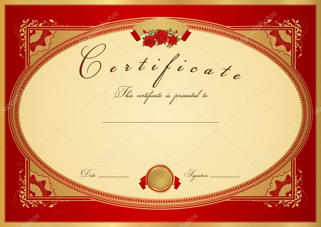 Red Certificate of completion (template or sample background) with
