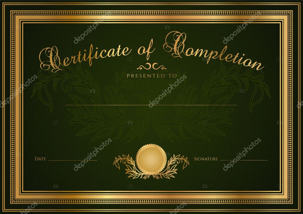Green Certificate of completion (template or sample blank background