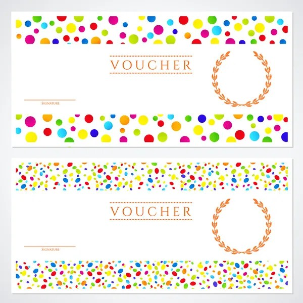 Voucher (Gift certificate) template with colorful (bright, rainbow - money coupon template