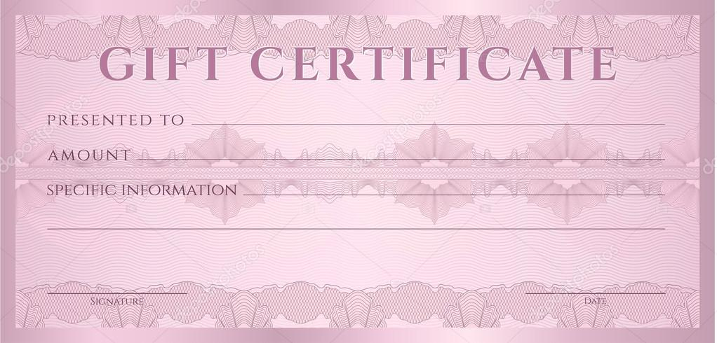 Gift certificate, Voucher, Coupon template (layout) with guilloche - money coupon template