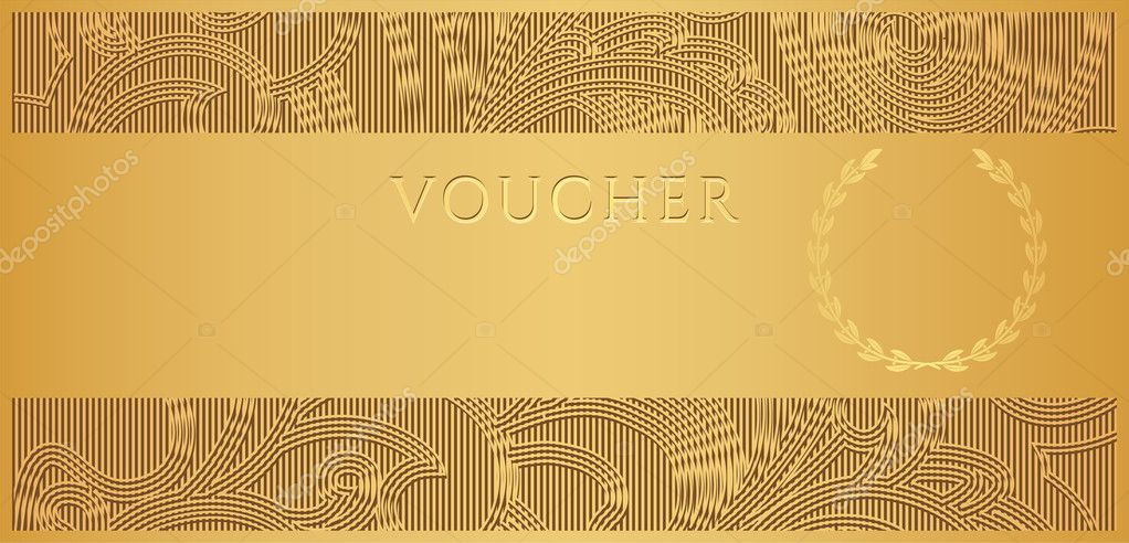 Voucher, Gift certificate, Coupon template with floral, scroll - money coupon template