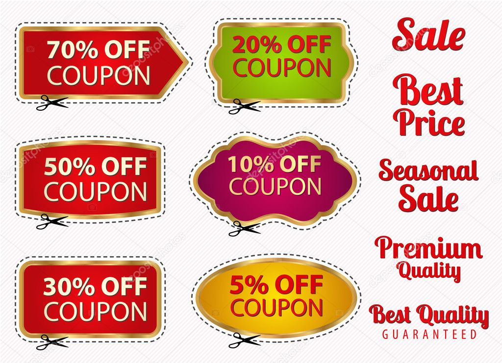 Vector set Sale Coupons, labels (banner, tag) template (layout - sale tag template