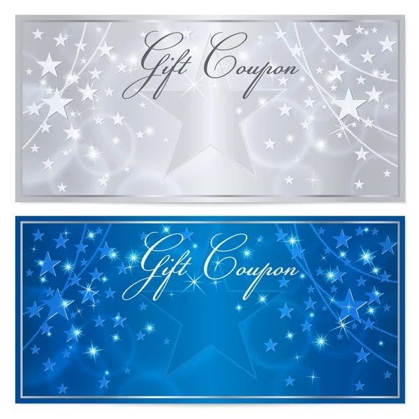 Gift certificate, Voucher, Coupon template with stars pattern - money coupon template
