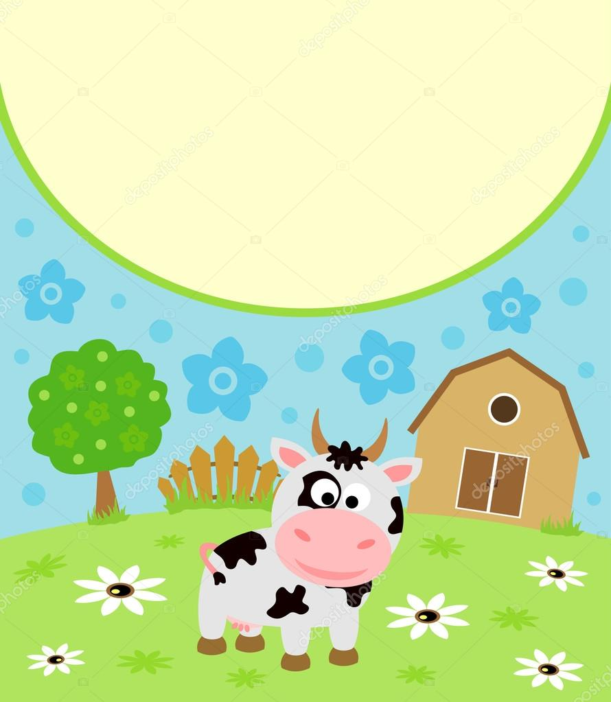 Cute Cartoon Animal Wallpaper 与牛背景卡通卡 图库矢量图像 169 Dicrafstman 23583749
