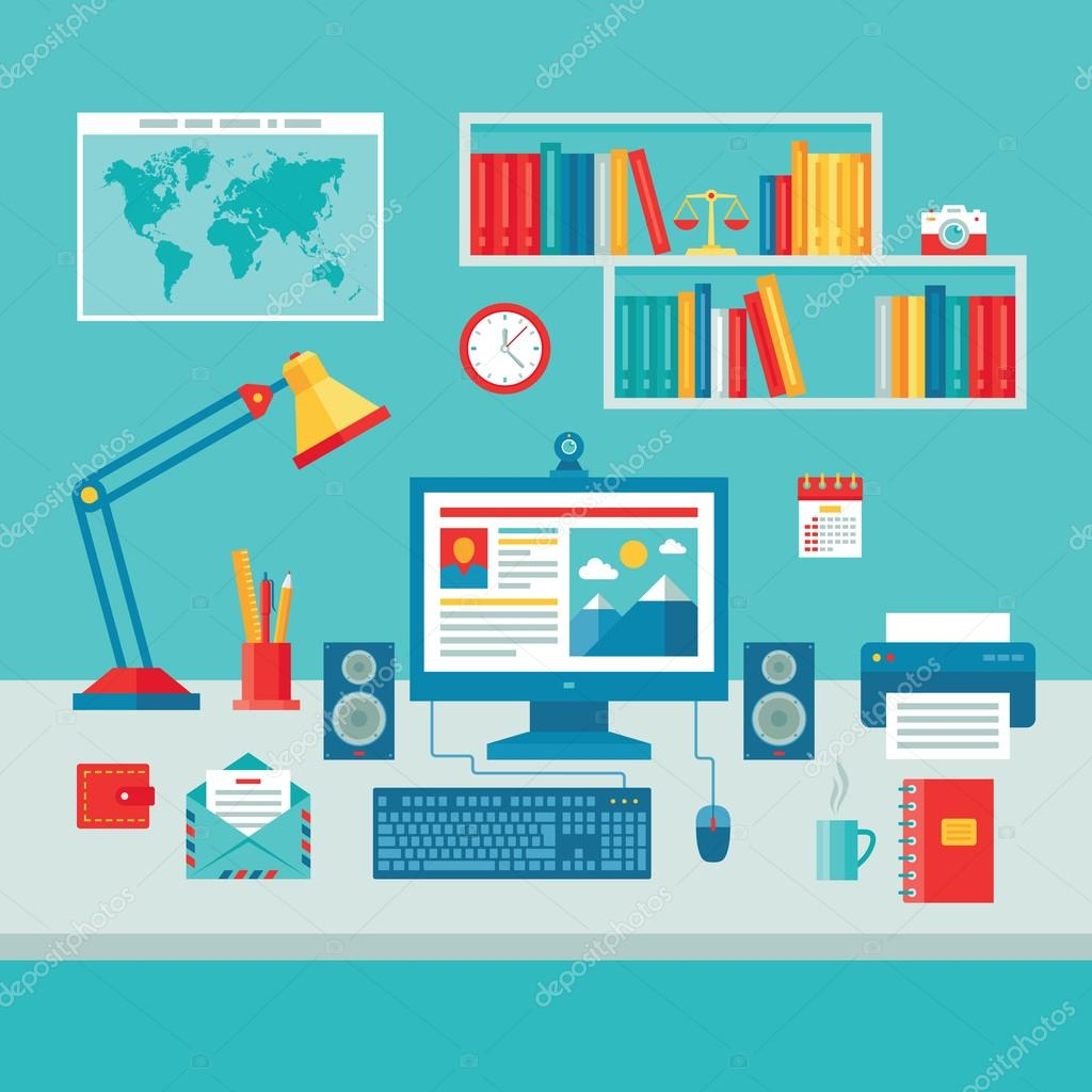 Home Business Office Workplace with Computer Monitor