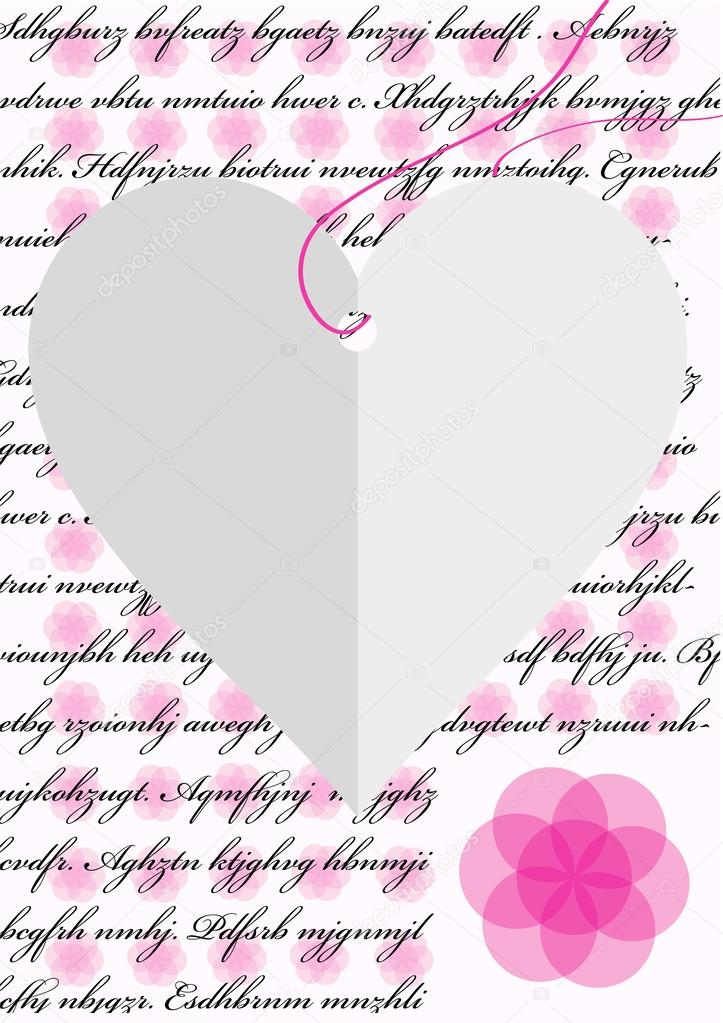Romantic love letter with paper heart and pink flowers u2014 Stock - romantic love letter