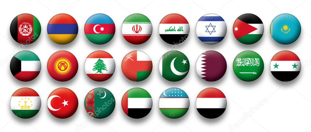 Vector Set of buttons flags of Middle East \u2014 Stock Vector