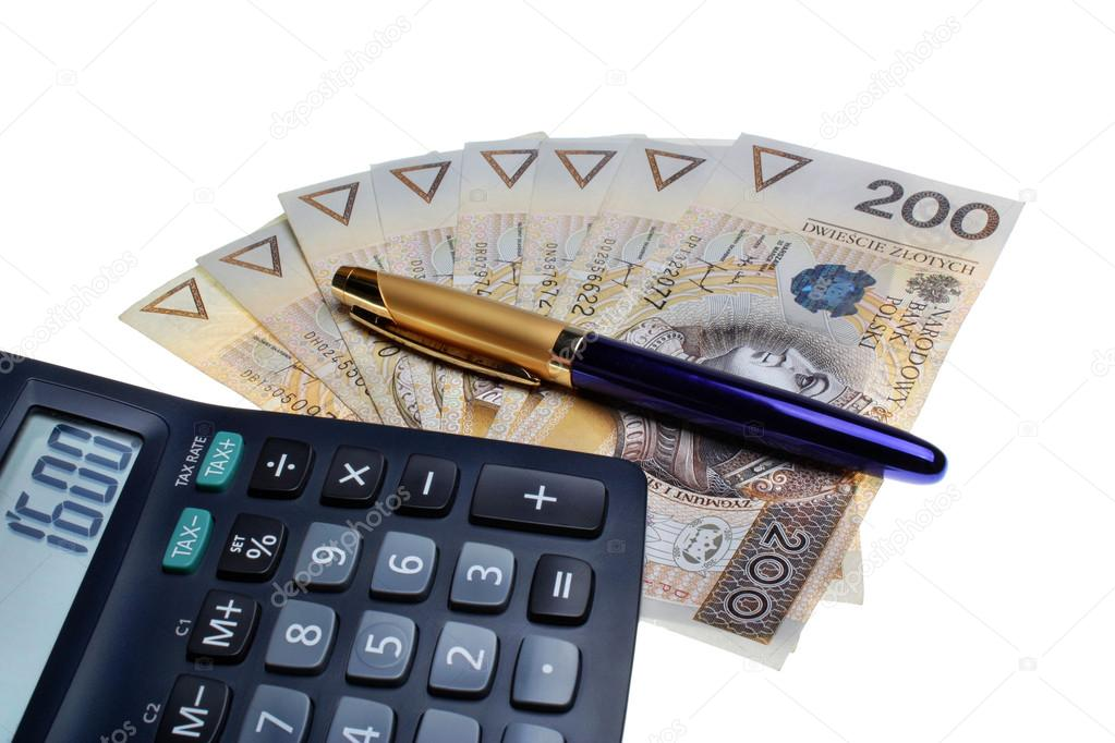 Polish money salary calculator and a pen \u2014 Stock Photo © Adam88xxx