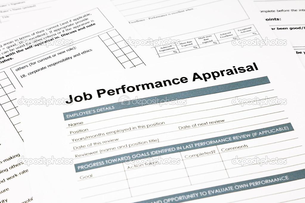job performance appraisal form for business \u2014 Stock Photo