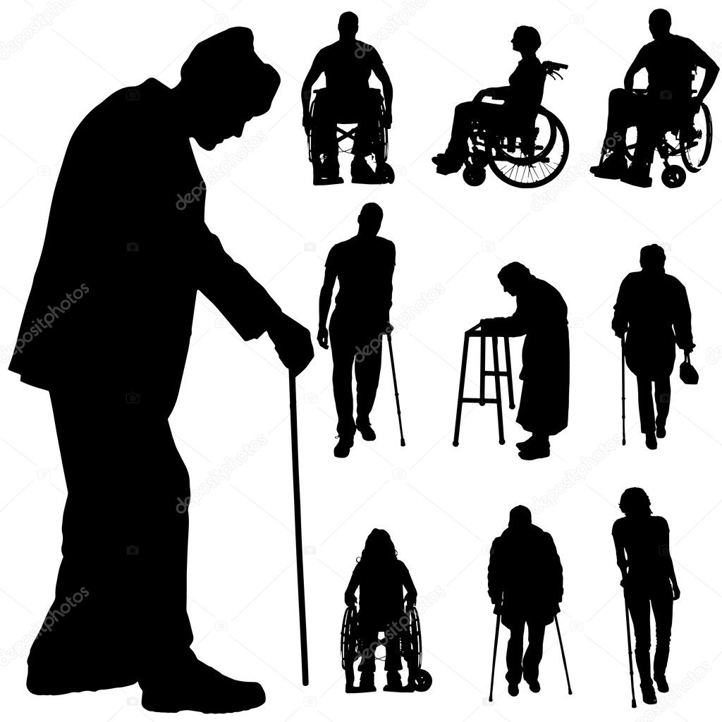 Silhouette Paintings Of People Vector Silhouette Of Disabled People Stock Vector