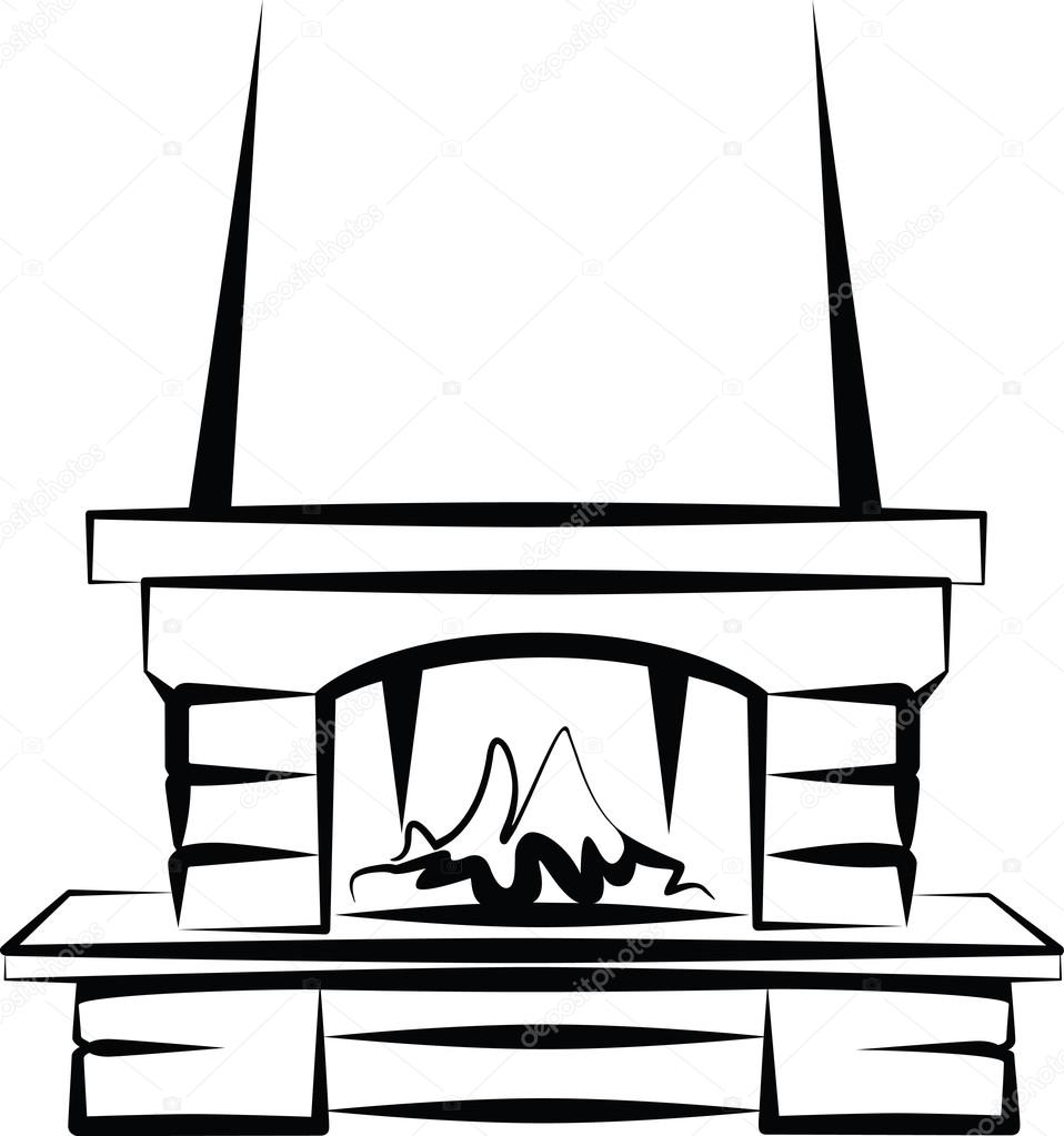 Simple Illustration Of A Fireplace Stock Vector