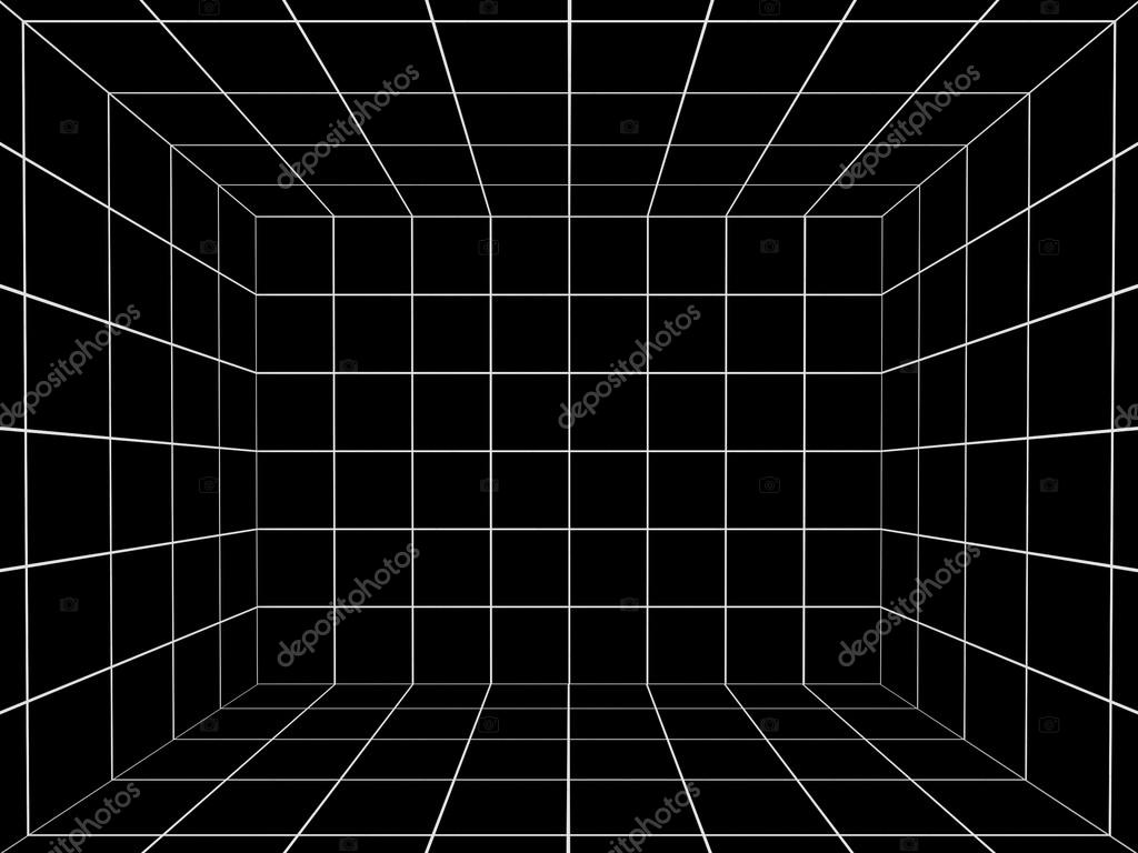 3d Cube Live Wallpaper Download Black Space With Perspective Grid 3d Stock Photo