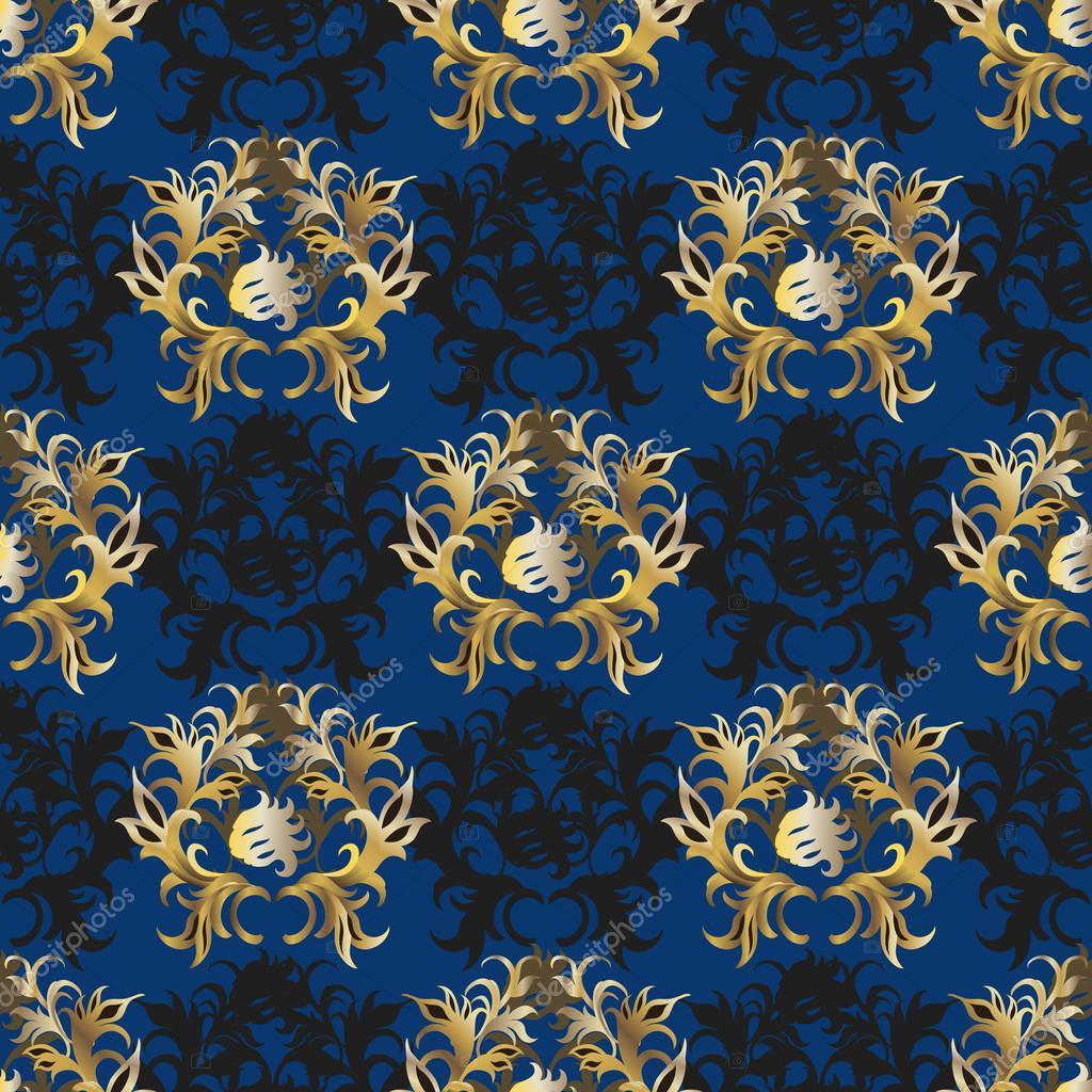 Purple And Black Damask Wallpaper Elegant Vintage Blue Gold Wallpaper Stock Vector