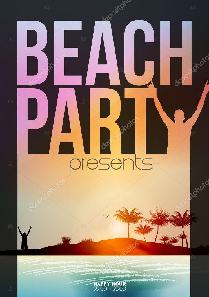 Summer Beach Party Flyer Template - Vector Illustration \u2014 Stock