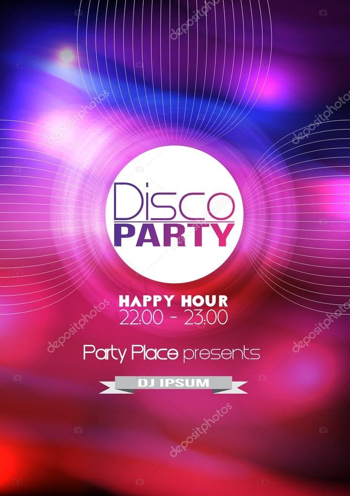 Disco Party Flyer Background Template - Vector Illustration \u2014 Stock