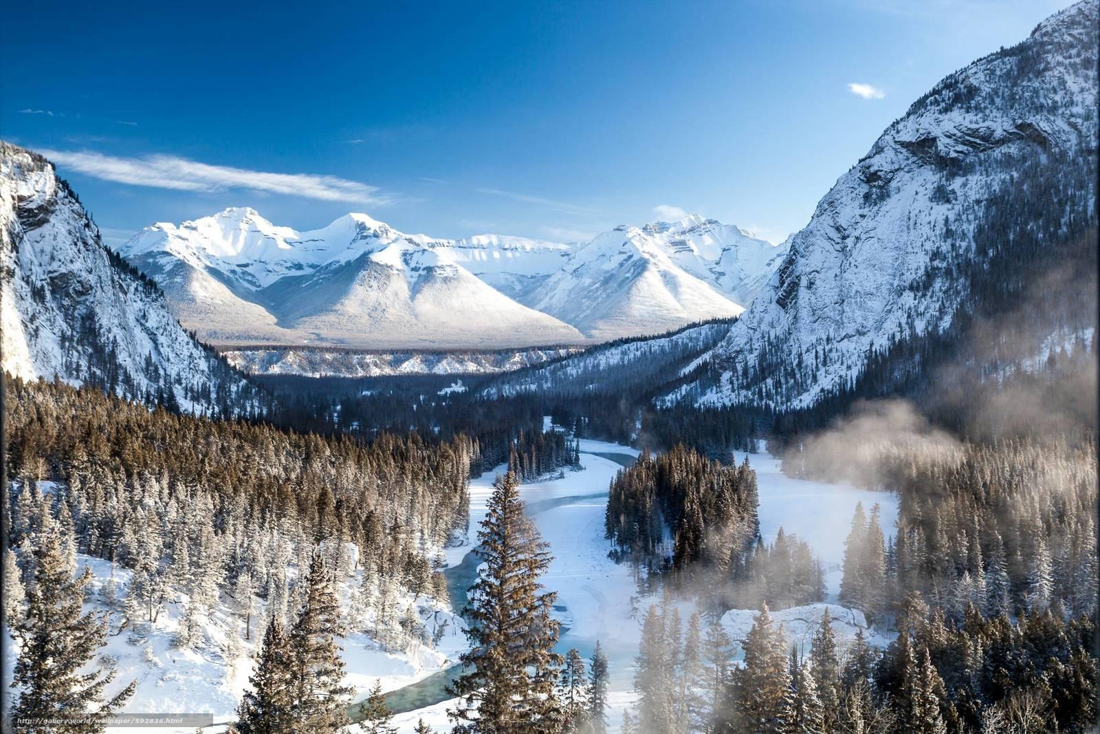 Numa Falls Canada Wallpaper Download Wallpaper Mountains Winter River Banff Free