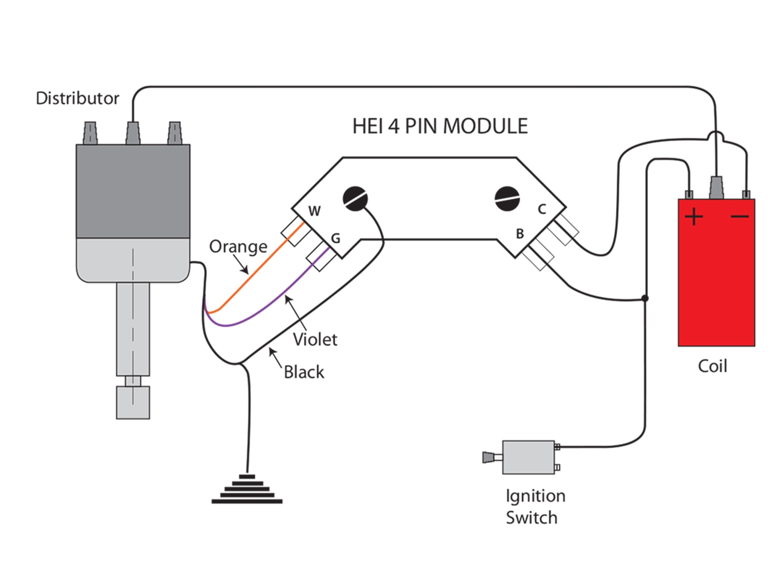 gm hei 4 pin ignition module wiring diagram