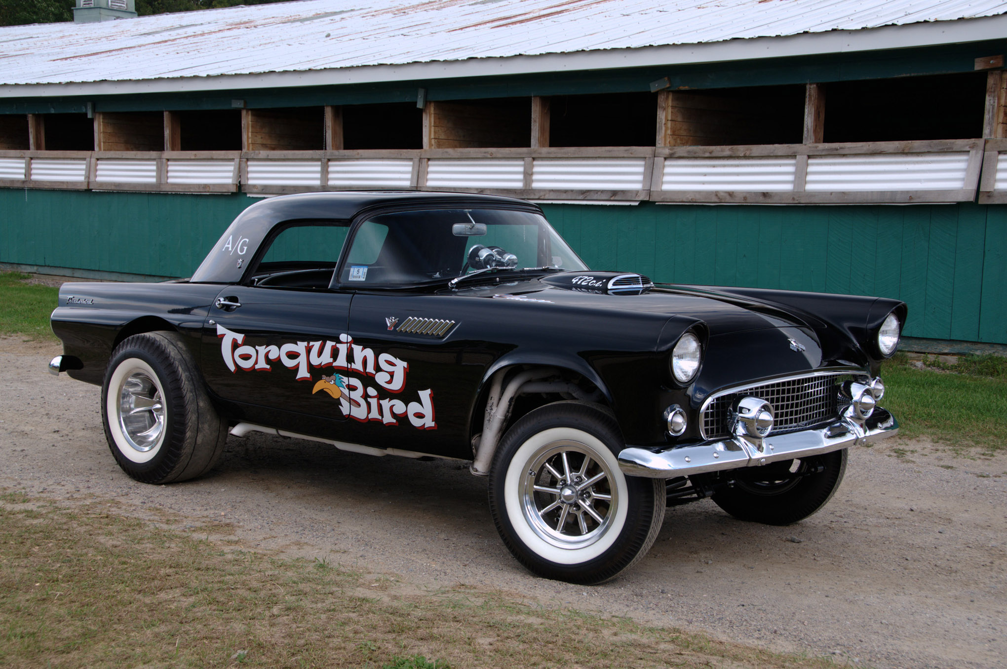 Black And White Vintage Car Wallpaper Caddy Powered 1955 T Bird Gasser Hot Rod Network