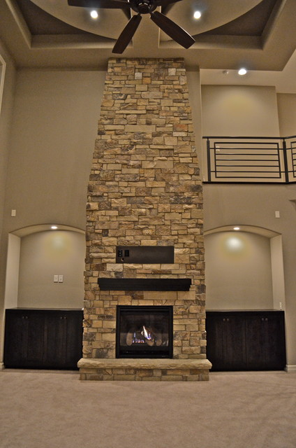 Lighting Company Omaha Floor-to-ceiling Fireplace - Contemporary - Living Room