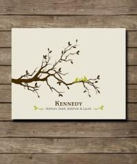 Personalized Custom Love Bird Family Tree Wall Art by