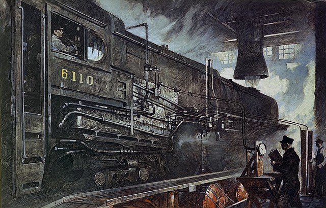 Rail Mural Vintage Locomotive Train Wallpaper Wall Mural - Self