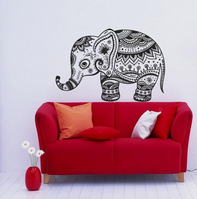Wall Vinyl Decals Animal Vintage Elephant Patterns