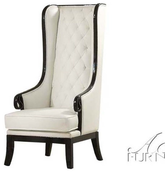 Acme Furniture Parr Black White High Back Accent Wing
