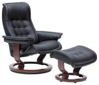 Stressless Medium Royal Chair and Ottoman, Paloma Black ...