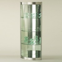 Corner Curio with Mirrored Interior - Silver - Storage ...
