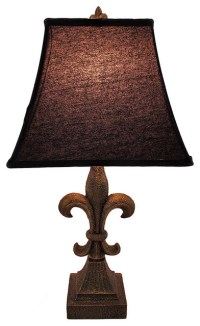 Fleur de Lis Table Lamp with Black Fabric Shade 24.5 In ...