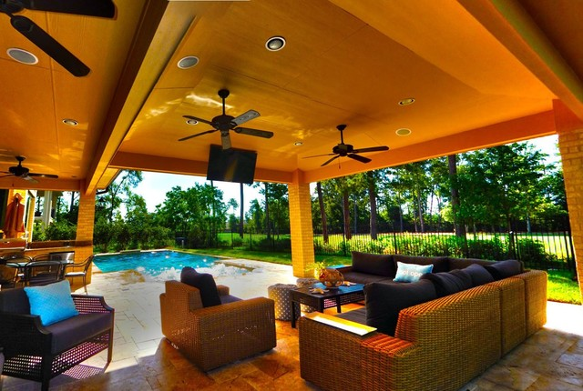 Pool And Patio Lighting Rectangular Pool 5 with Pencil Jets and Covered Patio - Contemporary - Pool - houston - by ...