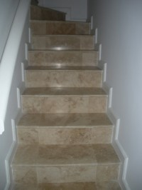 Travertine Tile Steps - Contemporary - Staircase - other ...