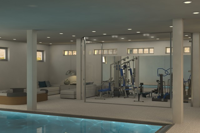 Basement Gym Contemporary Rendering Amsterdam By