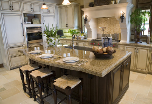 Different Shaped Kitchen Island Designs With Seating Giallo Fantasia Granite | Granite Countertops, Slabs, Tile