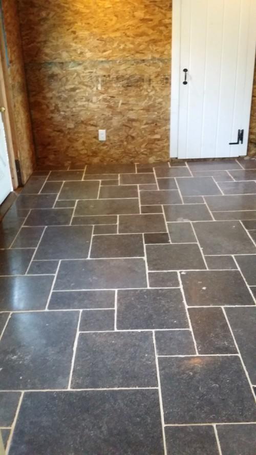 Belgium Bluestone Floor In Foyer Scribed To Existing