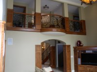Interior Wood Curved Stair With Decorative Railing For Balcony