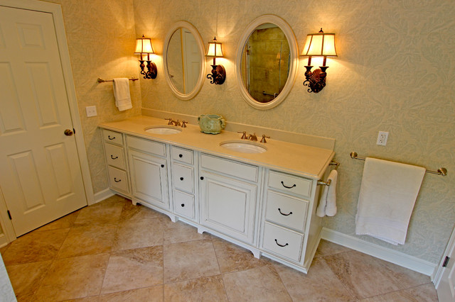 Oasis white cabinets caesarstone countertop traditional bathroom