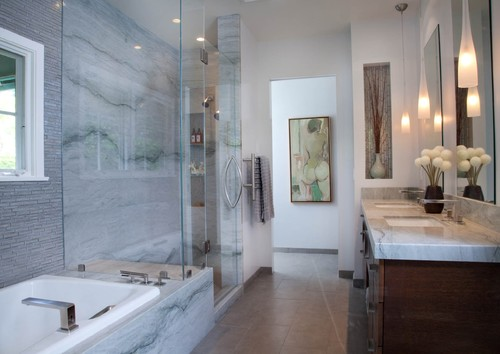 Houzz Bathroom Sea Pearl Quartzite Slab