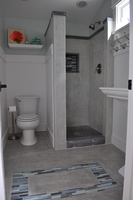Houzz Pillows Craftsman Concrete Shower - Traditional - Bathroom - San