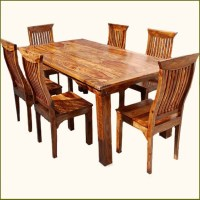 Rustic 7 pc Solid Wood Dining Table & Chair Set - Rustic ...