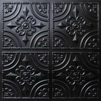 205 Faux Tin Ceiling Tile Glue up 24x24 - Black - Ceiling ...