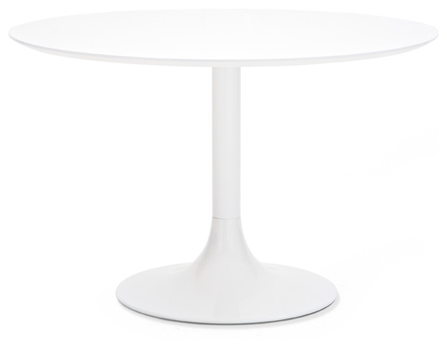 White lacquered corona 120 round table white glass