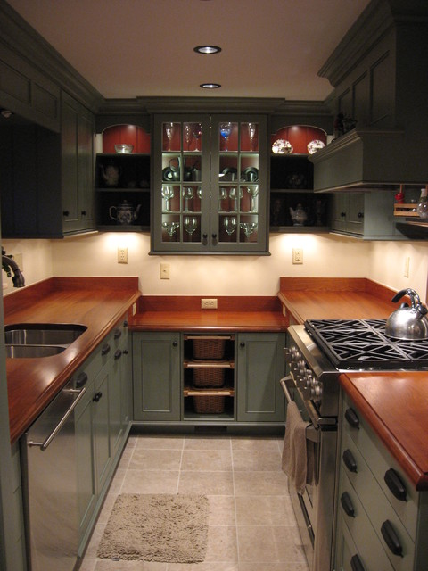 Custom Kitchen Cabinets And Countertops Country Galley Kitchen - Traditional - Kitchen - New York