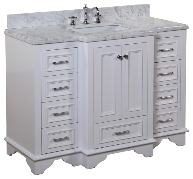 Beach Style Bathroom Vanity Nantucket 48-in Bath Vanity (carrara/white) - Transitional