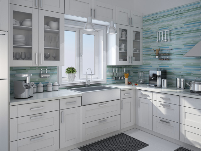 curl hand painted linear glass tile backsplash contemporary kitchen white painted brick kitchen backsplash transitional kitchen