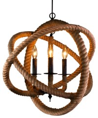 3 Light Rope Enclosed Chandelier - Contemporary ...